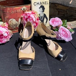 Chanel Squared Two Tone Heel Size 8